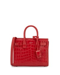 Sac De Jour Nano Croc Embossed Crossbody Bag Red Saint Laurent