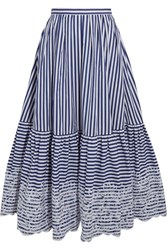 Erdem Leigh Embroidered Striped Cotton Midi Skirt Navy