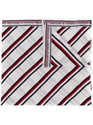 Tommy Hilfiger Long Striped Scarf White