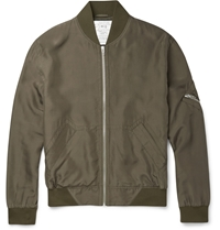 Mcq By Alexander Mcqueen Silk Bomber Jacket Green