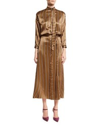 Nina Ricci Striped Silk Midi Dress Camel