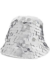Maison Michel Souna Paillette Embellished Tulle Bucket Hat Silver