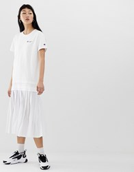 Champion Midi T Shirt Dress With Script Logo And Pleated Skirt White