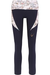 Lucas Hugh Lago Printed Stretch Leggings Midnight Blue