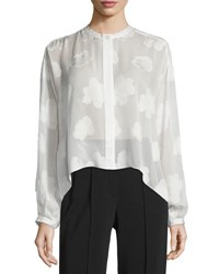 Elizabeth And James Long Sleeve Silk Burnout Blouse White