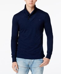 G Star Gstar Men's Ezra Indigo Shawl Collar Long Sleeve T Shirt Dark Aged