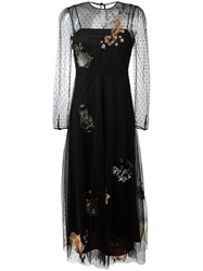 Red Valentino Sea Motif Embroidery Dress Black