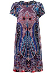 Etro Abstract Print Dress Blue