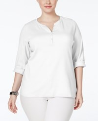 Karen Scott Plus Size Henley Top Only At Macy's Bright White