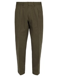 The Gigi Pleated Front Tapered Leg Cotton Trousers Khaki