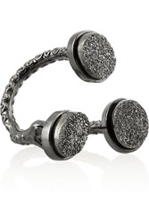Dara Ettinger Lorie Gunmetal Plated Agate Ring Metallic