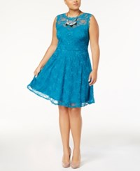 Love Squared Trendy Plus Size Lace Fit And Flare Dress Dark Teal