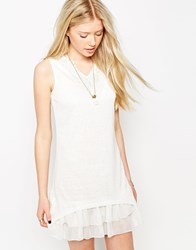 Jasmine Layered Dress With Lace Neckline White
