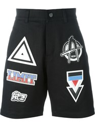 Ktz Patched Denim Shorts Black