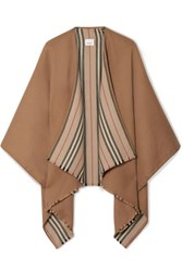 Burberry Reversible Striped Wool Wrap Camel