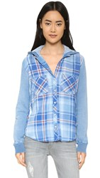 Bella Dahl Hooded Button Down Shirt Light Sky Wash