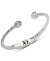 Anne Klein Silver Tone Crystal And Pave Hinged Bangle Bracelet