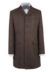 Gibson Men's Brown Check Long Jacket Brown