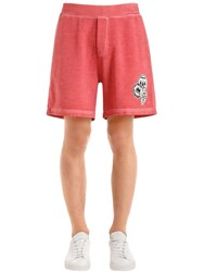 Dsquared Camping Patch Cotton Jersey Sweat Shorts Coral