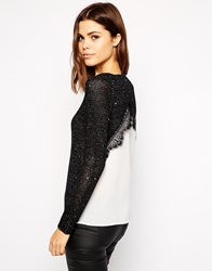 Lipsy Sequin Jumper With Chiffon Back And Lace Trim Multi