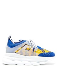 Versace Chain Reaction Twill And Suede Trainers Blue Multi