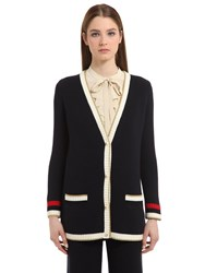 Gucci Oversized Cotton Knit Blend Cardigan Navy