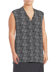 Vince Camuto Plus V Neck Sleeveless Printed Blouse Silver Sand