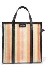 Balenciaga Bazar Small Textured Leather Trimmed Mesh Tote Peach