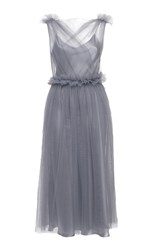 Elenareva Netted Ruffle Midi Dress Grey
