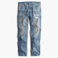 J.Crew Wallace And Barnes Slim Selvedge Jean In Cone Denim With Destroyed Wash Destroyed Sedgwick