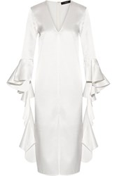 Ellery Ruffle Trimmed Satin Crepe Dress Ivory
