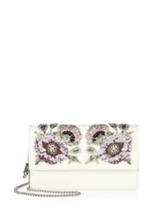Alexander Mcqueen Crystal Embroidered Leather Chain Wallet White Multi