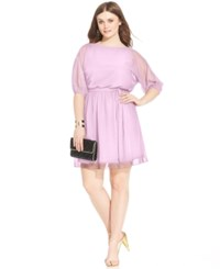 Love Squared Plus Size Bishop Sleeve Chiffon Dress Lavender
