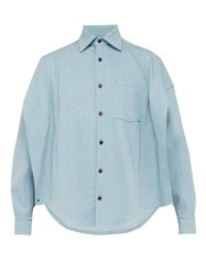 Bless Slit Denim Shirt Light Blue