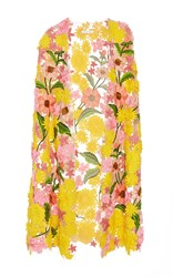 Naeem Khan Garden Variety Applique Cape Yellow Pink Green