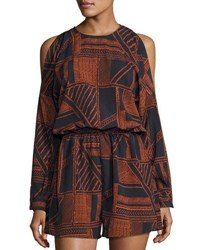 The Fifth Label Lost Paradise Long Sleeve Romper Multi