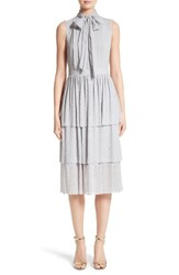 St. John Women's Collection Crinkle Silk Georgette Tiered Dress