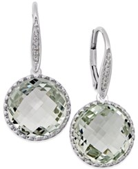 Macy's Green Amethyst 11 Ct. T.W. And Diamond Accent Drop Earrings In 14K White Gold