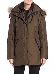 Andrew Marc New York Sydney Coyote Fur Trim Down Parka Olive