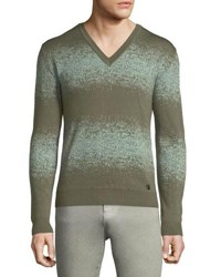 Versace V Neck Ombre Wool Sweater Aquamarine