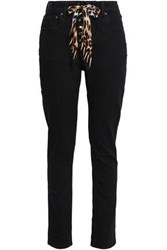 Rockins Silk Trimmed High Rise Slim Leg Jeans Black