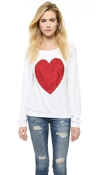 Wildfox Couture Sparkle Heart Baggy Beach Pullover Clean White