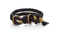 Giles And Brother Men's Leather Double Band Bracelet Silver