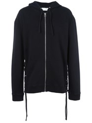 Faith Connexion Lace Up Detail Zipped Hoodie Black