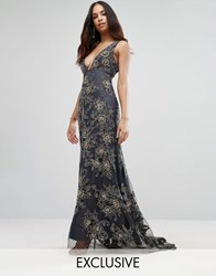 A Star Is Born Plunge Neck Maxi Dress With Contrast Embellishment Charcoal Gold Grey