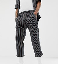 Milk It Vintage Relaxed Crop Trousers In Stripe Co Ord Navy