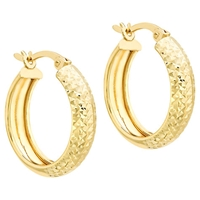 Ibb 9Ct Gold Diamond Cut Creole Earrings Gold