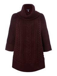 Joules Cable And Stitch Poncho Plum