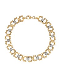 Lord And Taylor 14K Yellow Gold Faceted Round Bead Link Bracelet