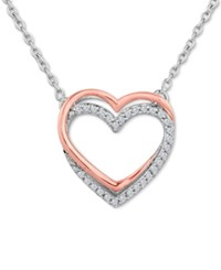 Macy's Diamond 1 10 Ct. T.W. Double Heart Pendant Necklace In Sterling Silver With 14K Rose Gold Accents Two Tone